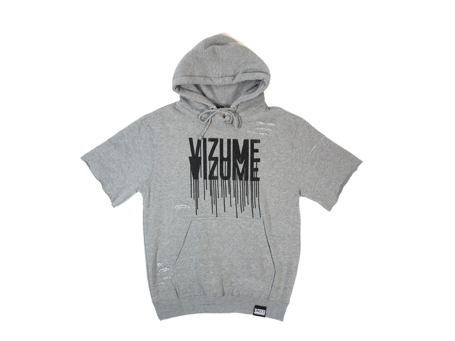 Vizume Damaged Drips Short Sleeve Hooded Pullover Heather Grey