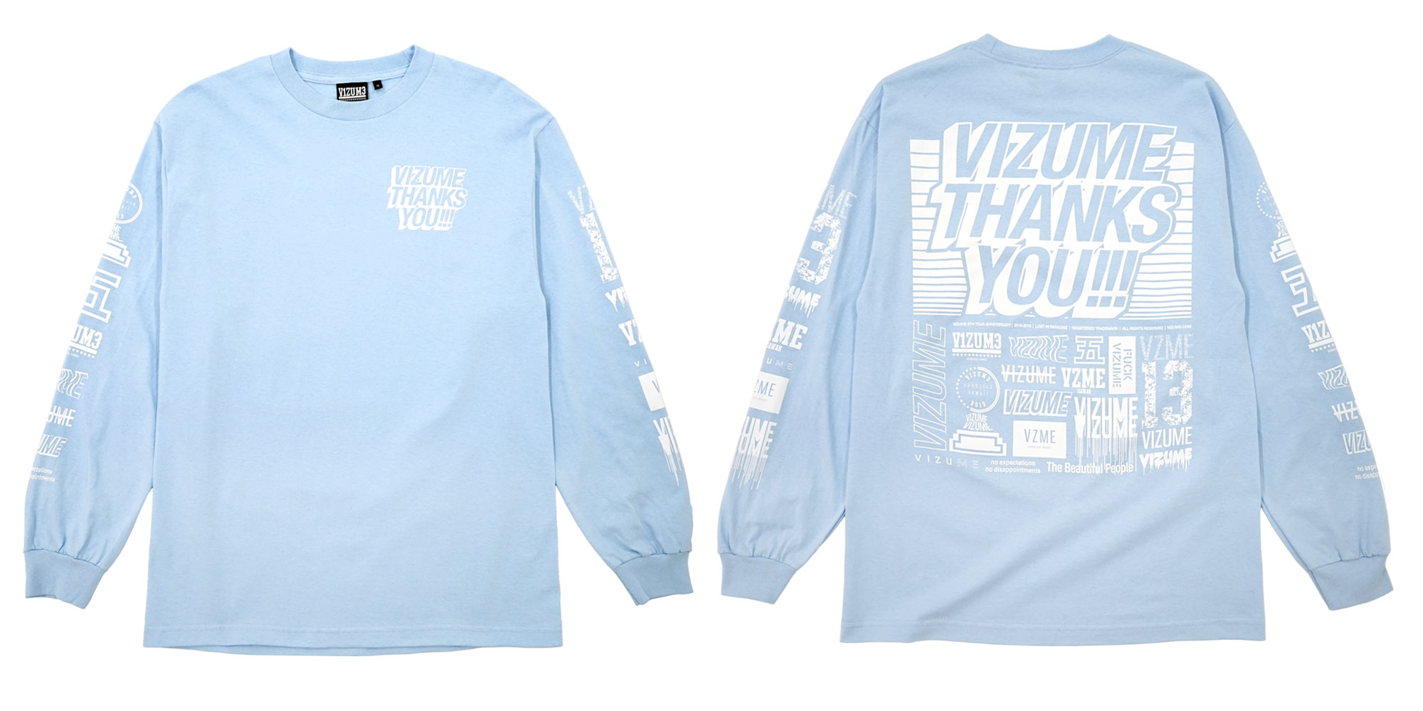 Vizume Thank You Long Sleeve Tee in Baby Blue
