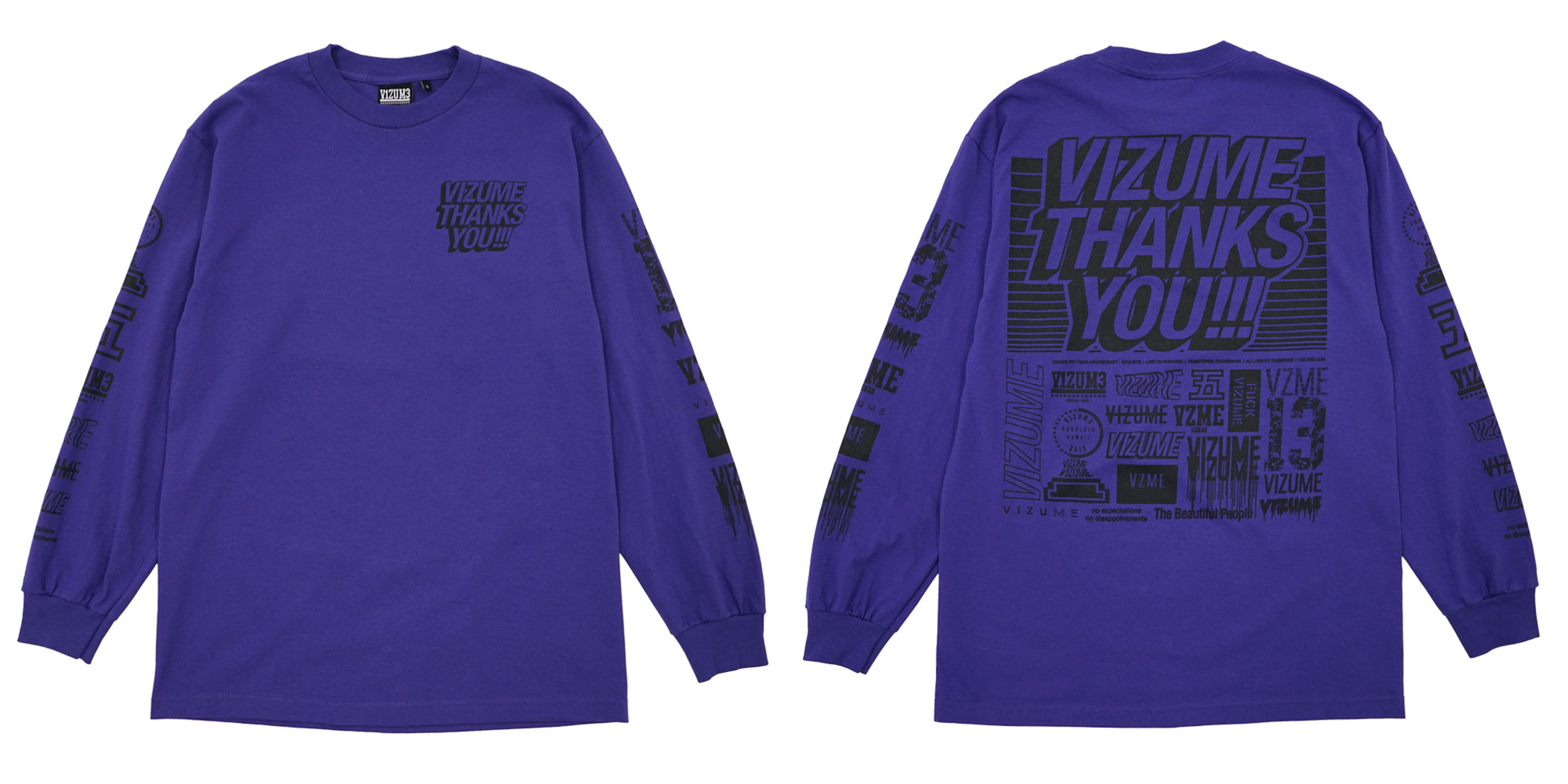 Vizume Thank You Long Sleeve Tee in Purple